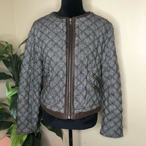 NWOT Zara Quilted Faux Leather Trim Jacket